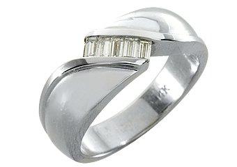 MENS 2/5 CARAT BAGUETTE CUT DIAMOND RING WEDDING BAND 14KT WHITE GOLD