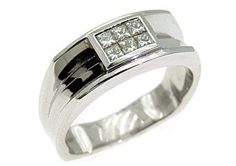 MENS .55 CARAT PRINCESS CUT INVISIBLE DIAMOND RING WEDDING BAND 14KT WHITE GOLD