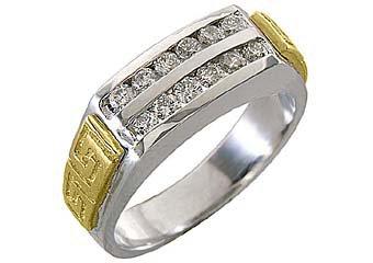 MENS BRILLIANT ROUND CUT DIAMOND RING WEDDING BAND 2-ROW YELLOW WHITE GOLD