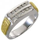MENS BRILLIANT ROUND CUT DIAMOND RING WEDDING BAND 2-ROW YELLOW WHITE GOLD