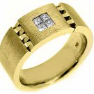 MENS 2/5 CARAT BRILLIANT ROUND CUT DIAMOND RING WEDDING BAND 14KT WHITE GOLD