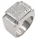 MENS 3 CARAT DIAMOND RING PRINCESS SQUARE CUT INVISIBLE 18KT WHITE GOLD