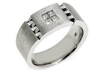 MENS 2/5 CARAT PRINCESS SQUARE CUT DIAMOND RING WEDDING BAND 14KT WHITE GOLD