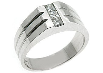 MENS 1/2 CARAT PRINCESS SQUARE CUT DIAMOND RING WEDDING BAND 14KT WHITE GOLD