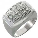 MENS 1.5 CARAT DIAMOND CLUSTER RING BRILLIANT ROUND CUT 10 STONE 14K WHITE GOLD
