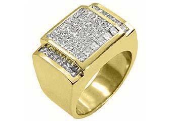 MENS 3 CARAT DIAMOND RING PRINCESS SQUARE CUT INVISIBLE 18KT YELLOW GOLD