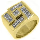 MENS 2.6 CARAT DIAMOND RING PRINCESS SQUARE CUT INVISIBLE 18KT YELLOW GOLD