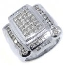 MENS 3.4 CARAT DIAMOND RING PRINCESS SQUARE CUT 18KT WHITE GOLD