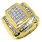 MENS 3.4 CARAT DIAMOND RING PRINCESS SQUARE CUT 18KT YELLOW GOLD