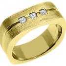 MENS 1/3 CARAT PRINCESS SQUARE CUT DIAMOND RING WEDDING BAND 14KT YELLOW GOLD