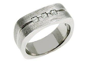 MENS 1/3 CARAT PRINCESS SQUARE CUT DIAMOND RING WEDDING BAND 14KT WHITE GOLD