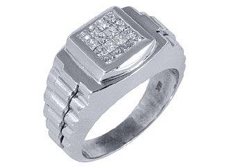 MENS 3/4 CARAT PRINCESS CUT SQUARE SHAPE INVISIBLE DIAMOND RING 18KT WHITE GOLD