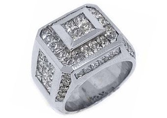 MENS 5.6 CARAT PRESIDENTIAL PRINCESS SQUARE CUT DIAMOND RING 18KT WHITE GOLD