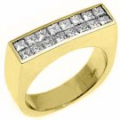 MENS 1.5 CARAT DIAMOND PINKY RING PRINCESS SQUARE CUT INVISIBLE 18KT YELLOW GOLD