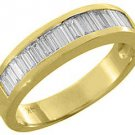 MENS 1 CARAT BAGUETTE CUT DIAMOND RING WEDDING BAND 14KT YELLOW GOLD