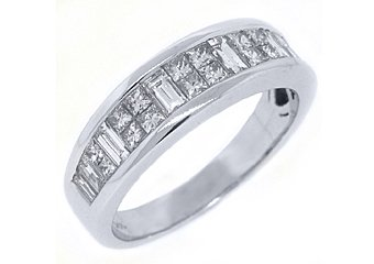 MENS 1.81 CARAT PRINCESS BAGUETTE CUT DIAMOND RING WEDDING BAND 14KT WHITE GOLD