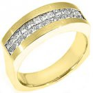MENS 1.2 CARAT PRINCESS SQUARE CUT DIAMOND RING WEDDING BAND 18KT YELLOW GOLD