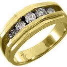 MENS .85 CARAT BRILLIANT ROUND CUT DIAMOND RING WEDDING BAND 14KT YELLOW GOLD