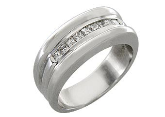 MENS .55 CARAT PRINCESS SQUARE CUT DIAMOND RING WEDDING BAND 14KT WHITE GOLD