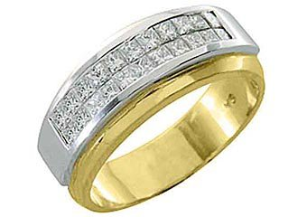 MENS DIAMOND RING WEDDING BAND 1 CARAT PRINCESS CUT SQUARE INVISIBLE