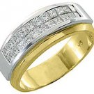 MENS DIAMOND RING WEDDING BAND 1 CARAT PRINCESS CUT SQUARE INVISIBLE