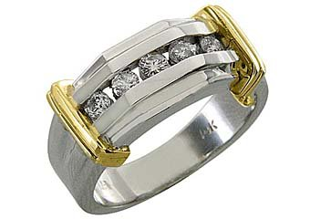 MENS .5CT BRILLIANT ROUND CUT DIAMOND RING WEDDING BAND 5-STONE TWO TONE GOLD