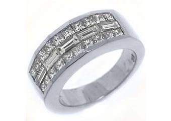MENS 2 CARAT SQUARE BAGUETTE CUT DIAMOND RING WEDDING BAND 18KT WHITE GOLD