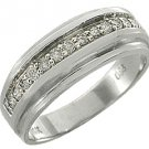 MENS 1/2 CARAT BRILLIANT ROUND CUT DIAMOND RING WEDDING BAND 14KT WHITE GOLD