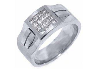 MENS .78 CARAT PRINCESS SQUARE CUT DIAMOND RING WEDDING BAND 14KT WHITE GOLD