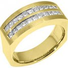 MENS 1.5 CARAT PRINCESS SQUARE CUT DIAMOND RING WEDDING BAND 18KT YELLOW GOLD