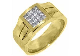 MENS .78 CARAT PRINCESS SQUARE CUT DIAMOND RING WEDDING BAND 14KT YELLOW GOLD