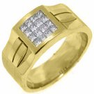 MENS .78 CARAT PRINCESS SQUARE CUT DIAMOND RING WEDDING BAND 14KT YELLOW GOLD