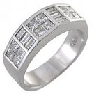 MENS 1.75 CARAT PRINCESS BAGUETTE CUT DIAMOND RING WEDDING BAND 18KT WHITE GOLD