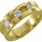 MENS 3/4 CARAT BRILLIANT ROUND CUT DIAMOND RING WEDDING BAND 14KT YELLOW GOLD