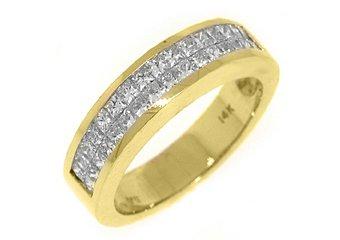 MENS 2 CARAT PRINCESS SQUARE CUT DIAMOND RING WEDDING BAND 14KT YELLOW GOLD