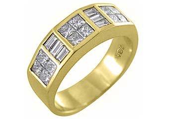 MENS 1.75 CARAT PRINCESS SQUARE CUT DIAMOND RING WEDDING BAND 18KT YELLOW GOLD
