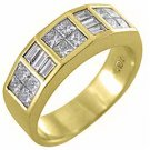 MENS 1.75 CARAT PRINCESS SQUARE CUT DIAMOND RING WEDDING BAND 18KT YELLOW GOLD