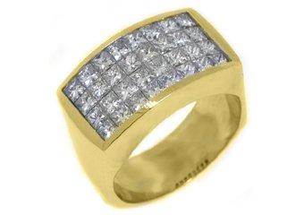 MENS 1 CARAT PRINCESS SQUARE CUT DIAMOND RING WEDDING BAND 18KT YELLOW GOLD