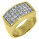 MENS 1 CARAT PRINCESS SQUARE CUT DIAMOND RING WEDDING BAND 18KT YELLOW GOLD