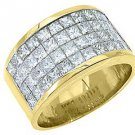 MENS 3.38 CARAT PRINCESS SQUARE CUT DIAMOND RING WEDDING BAND 18KT YELLOW GOLD