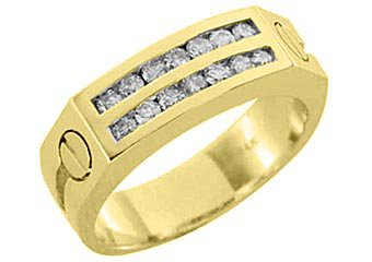 MENS 3/4 CARAT BRILLIANT ROUND CUT DIAMOND RING WEDDING BAND 2 ROW YELLOW GOLD
