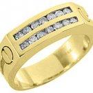 MENS 3/4 CARAT BRILLIANT ROUND CUT DIAMOND RING WEDDING BAND 2 ROW YELLOW GOLD
