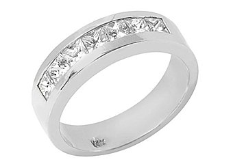 MENS 1.26 CARAT PRINCESS SQUARE SHAPE DIAMOND RING WEDDING BAND 14KT WHITE GOLD