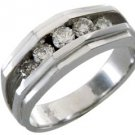 MENS .85 CARAT BRILLIANT ROUND CUT DIAMOND RING WEDDING BAND 14KT WHITE GOLD