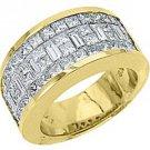 MENS 3.17 CARAT PRINCESS BAGUETTE CUT DIAMOND RING WEDDING BAND 18KT YELLOW GOLD
