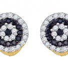 .26 CARAT BRILLIANT ROUND CUT BLACK DIAMOND HALO STUD EARRINGS YELLOW GOLD
