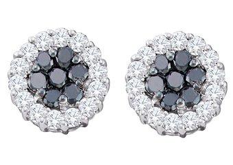1.48 CARAT BRILLIANT ROUND CUT BLACK DIAMOND HALO STUD EARRINGS WHITE GOLD