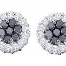 1.48 CARAT BRILLIANT ROUND CUT BLACK DIAMOND HALO STUD EARRINGS WHITE GOLD
