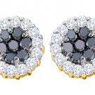 1.48 CARAT BRILLIANT ROUND CUT BLACK DIAMOND HALO STUD EARRINGS YELLOW GOLD