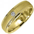 MENS .08CT SOLITAIRE BRILLIANT ROUND CUT DIAMOND RING WEDDING BAND YELLOW GOLD